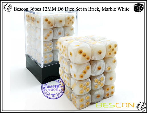 Bescon 36pcs 12MM D6 Dice Set in Brick, Marble White-1