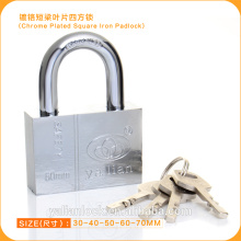 High Security Chrome Plated Square Iron Padlock