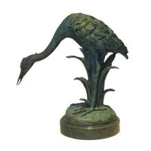 Animal Bronze Sculpture Bird Crane Decoration Brass Statue Tpy-628