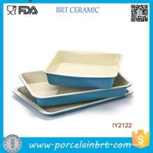 3шт Оптовая синий Керамическая кекса Набор посуды