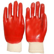 Chemical Protect Warrior Red PVC Knit Wrist Gloves For Handling Assembly