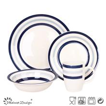16PCS Blue Circle Stoneware Dinner Set