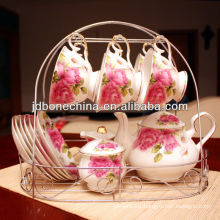 15 pcs flower designe gorgeous gold line Coffee Set cup and saucer