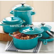 Enamel cast iron kitchen pots and pans