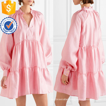 Loose Fit Pink Tiered Long Sleeve Mini Summer Dress Manufacture Wholesale Fashion Women Apparel (TA0329D)
