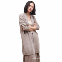 2017autumn pure cashmere cardigan women long section loose simple long-sleeved jacket solid color knitted cashmere sweater shawl