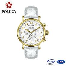 Jour/Date chronographe Multi Funcation véritable cuir Quartz Watch