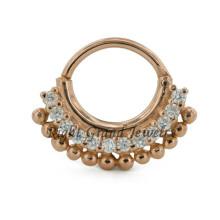 16G tabique plateado oro joyería diamante 24K oro indio nariguera