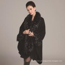 Senhora moda acrílico de malha de pele de avestruz faux inverno xale (yky4471)