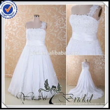 RSW415 Detachable Lace Sleeves For Tea Length Plus Size Wedding Dresses Removable Skirt