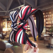 wholesale New Fashion Simple Temperament Hair Band Stripe Matching Color Bow Wide Edge Headbands for women