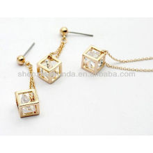 New arrival fashionable stainless steel zircon jewelry set for women