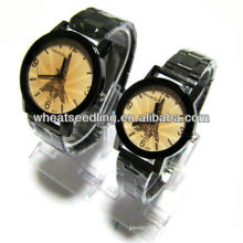 luxury Eiffel Tower original couple gift set stainless steel band watch