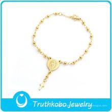 TKB-B0081 Joyas de rosarios hechas a mano cristianas cuentas de oración cadena de mano pulseras de oro santo