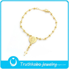 TKB-B0081 Christian handmade rosaries jewelry prayer bead hand chain golden saint bracelets