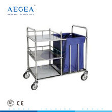 AG-SS010 stainless steel material medical cart laundry dental clinic trolley