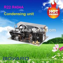 Холодильные агрегаты с холодильным агрегатом для коммерческих холодильников с холодильным агрегатом R404A с горизонтальным холодильником