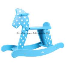 Factory Supply Baby Wooden Rocker-Blue Rocking Horse
