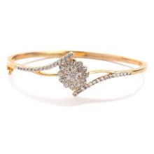 Oro 18k sobre plata joyería de las pulseras de la chispa con Zirconia cúbico