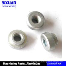 Piezas de torneado de aluminio de la pieza de aluminio de la parte de mecanización del CNC de la tuerca de aluminio