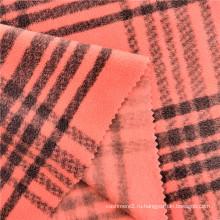 Окрашенная полосатая клетчатая набивная флисовая женская ткань
