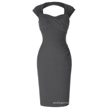 Belle Poque Stock Sleeveless Hollowed Back Nylon Cotton Hips-Wrapped Bodycon Grey Retro Vintage Dress BP000155-6