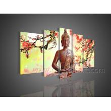 Pintura al óleo hecha a mano de Buda en lona para la decoración (BU-011)