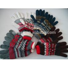 Invierno de acrílico de punto guantes de señora