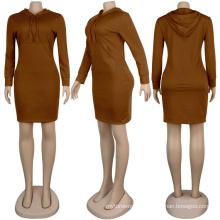 C3883 2020 Winter women mini dress solid color wholesale fashion sexy winter hoodies dress bodycon women dress