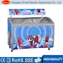 Precio grande del congelador del helado de la puerta de cristal del uso comercial