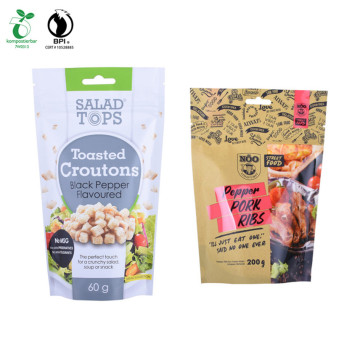 Flat Bottom Kraft Paper Bags with Window Laminated Pouch / Printed Pouch PLA Compostab Printed