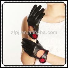 CCTV advisted red button leather palm short glove