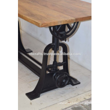 Industrial Crank Drafting Table Rectangular Mango Wood Top