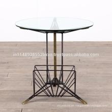 Vidrio industrial del metal redondo redonda pequeña tabla lateral
