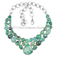 925 Prata Sterling & Tibetan Turquoise Gemstone Vintage Handmade Design Necklace