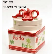 Tarro de galletas de Navidad pintado a mano