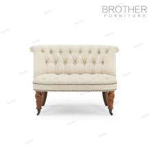 Nouveau design chaise d'appoint en tissu recouvert de 2 places canapé avec roues