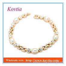 High fashion no moq crystal and pearl bracelet 2015 produits en gros nouveaux modèles de bracelets en or