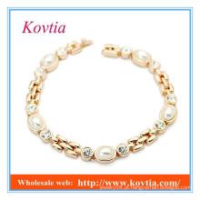 Alta moda não moq cristal e pulseira de pérola 2015 produtos atacado novos desenhos pulseira de ouro