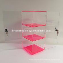 Kommerzielle doppelte Tür abschließbare 3-Layer Clear Neon Red Acryl Rotierende Display Tower Showcase