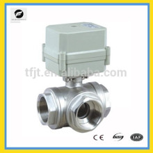 """AC220V voltage 3-way T flow stainless steel 304 motor 1"""" ball valve with position indicator and siganl feedback function"""