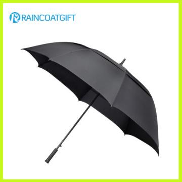 30 Inches Single Layer Fiberglass Frame Black Long Golf Umbrella