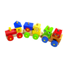 Wooden Block Train Toy with 3 Carriage for Kids
