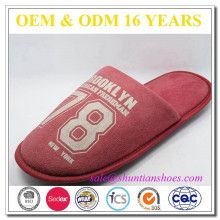 Personalized Wholesale men printed suede home slipper
