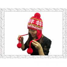 Китай Символ зимних трикотажных шапочка Hat с Pompon Мячи для девочек (1-3505)