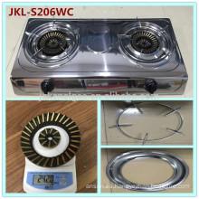 Estufa de cocina de gas de 2 quemadores de acero inoxidable con acabado de espejo