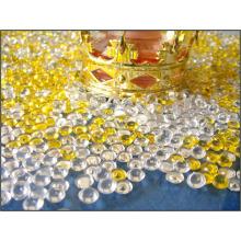 Tapa acrílico granos relleno vaso en bolsa de PVC con una etiqueta
