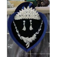 Мода Корона ожерелье серьги три набора для новобрачных свадебное