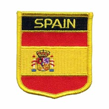 Custom Spain Flag Shield Embroidery Patches With PVC