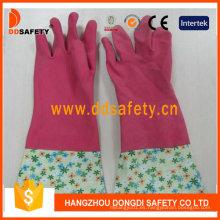 Guantes de casa de látex de látex de color rosa para el hogar DHL710